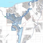 The area in blue is the proposed redevelopment area in South Lake Tahoe.