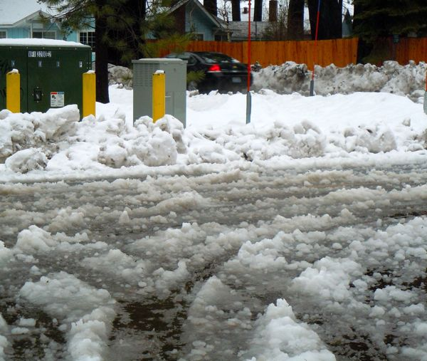 Slushy roads were the norm throughout lake tahoe during the weekend