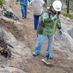Anna Watkins of Carson City works to improve the trail June 4 at Van Sickle Bi-state Park. Photos/Kathryn Reed