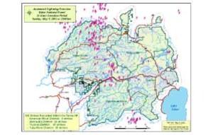 Tahoe National Forest lightning strikes map.