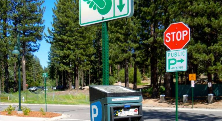 South Tahoe unloading parking kiosks