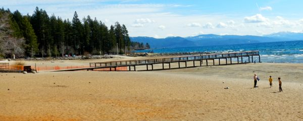 Tahoe piers-drought: Kings Beach
