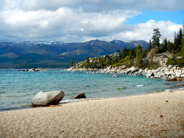 Tahoe piers-drought: Sand Harbor