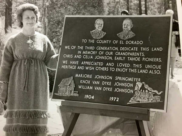 Marjorie Springmeyer at the dedication of her family's land that was to become a city hall. Photo/South Lake Tahoe
