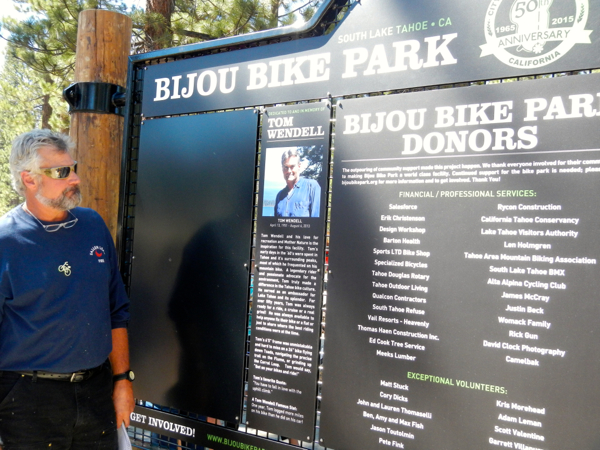 Ted Wendell brought many people to tears with his tribute to his brother, Tom, for whom the Bijou Bike Park was dedicated. Photo/Kathryn Reed