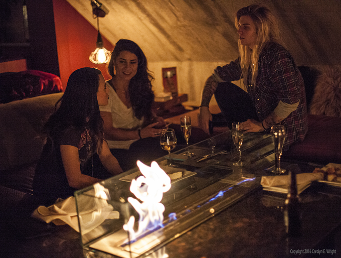 South Lake Tahoe friends Kelsey Adams, from left, Christina Wiseman and Christi Caden enjoy cocktails at The Loft. Photo Copyright 2016 Carolyn E. Wright