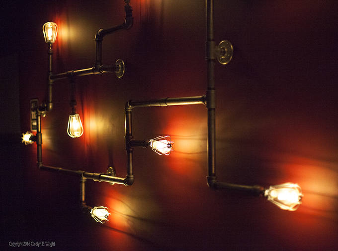 Lighting doubles as artwork. Photo Copyright 2016 Carolyn E. Wright
