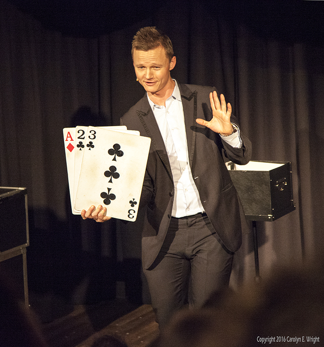 Magician Joel Ward is constantly entertaining the audience. Photo Copyright 2016 Carolyn E. Wright