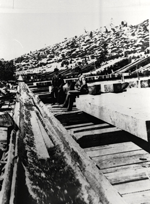 Flumes were used as one form of transport of logs harvested in Tahoe. Photo/Lake Tahoe Historical Society