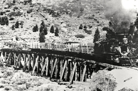 Remnants of trestles and other railroad parts were found decades after they were dismantled. Photo/Lake Tahoe Historical Society