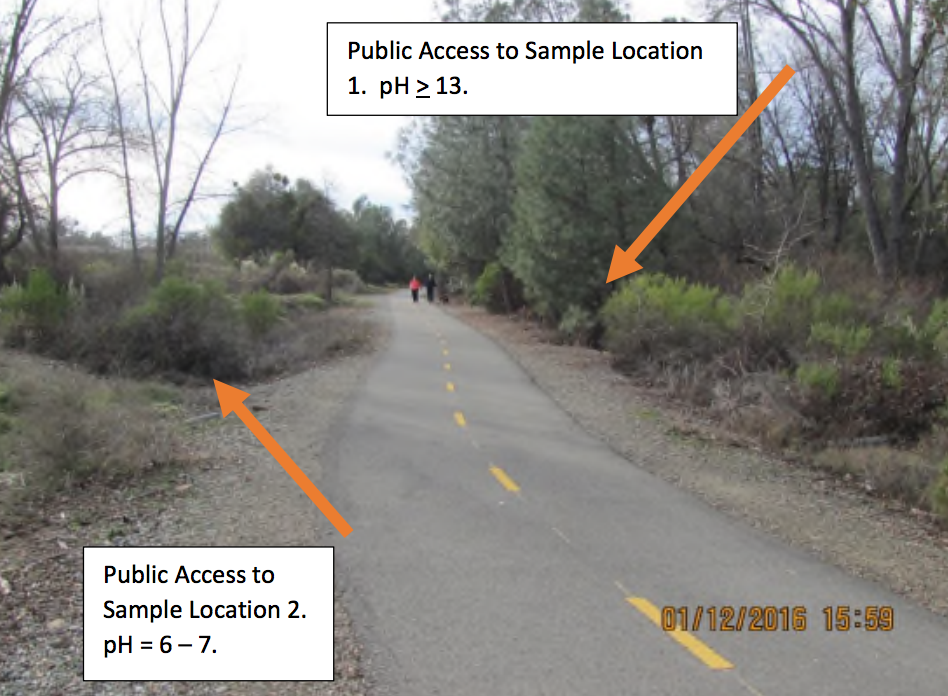 The hazardous water is just off the popular multi-use El Dorado Trail in Placerville. Photo/Provided