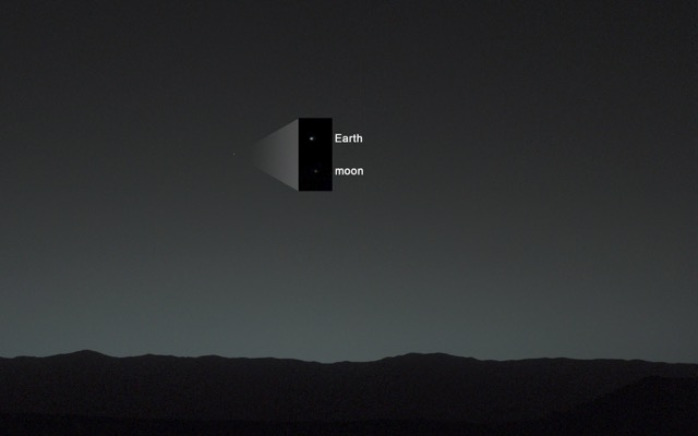 An image of the earth and the moon by the Curiosity Rover.
