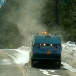 Street sweepers like this one in South Lake Tahoe on March 9 are supposed to reduce sediment. Photo/Kathryn Reed