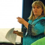 DCSD Superintendent Lisa Noonan makes a point April 12 about the budget. Photos/Kathryn Reed