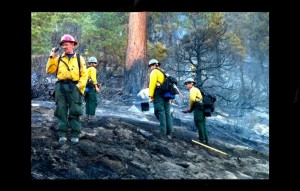 Firefighters on the evening of June 12 work the King Fire. Photos/Susan Wood
