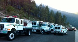 An army of fire apparatuses are along Kingsbury Grade. Photo/Susan Wood