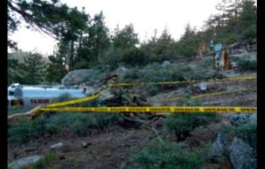 Tape outlines the potential point of origin of the 15-acre King Fire.