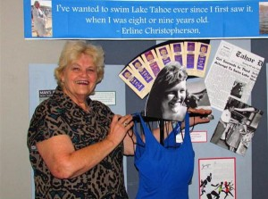 Erline Christopherson with the museum display. Photo/Denise Haerr