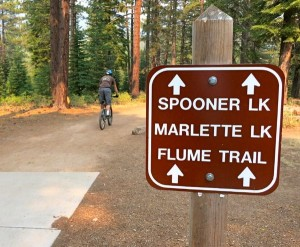 A mountain biker heads out on the Flume Trail.