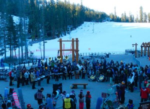 Before the sun comes over the ridge, the band welcomes skiers to Sierra.