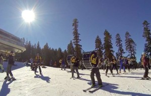 Members of the Cal band ski and play down the slopes at Sierra-at-Tahoe. Photo/Steven Hemphill
