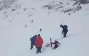A person caught in an avalanche Feb. 27 at Kirkwood is freed from the snow. Photo/Corrina M. Strauss