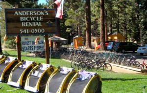 Anderson's bike rentals has a special use permit for its display of two-wheelers. Photo/LTN file