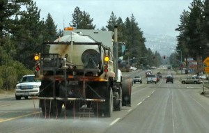 Caltrans was out March 31 laying down a solution on Highway 50 before the storm arrived. Photo/LTN