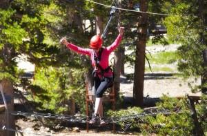 Liesl Kenney demonstrates her balancing skills at Heavenly. Photo/Carolyn E. Wright/Copyright