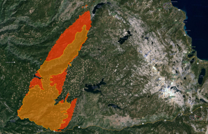 The fire is moving north from Pollock Pines into popular wilderness areas. Map/Google Images