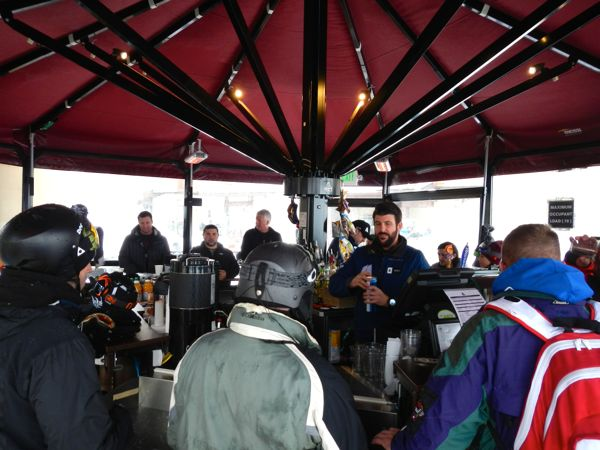The K Bar in the plaza has views of the upper mountain.
