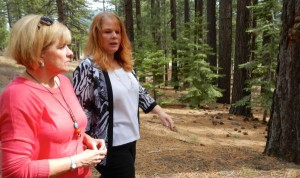 South Lake Tahoe City Manager Nancy Kerry, right, gives Councilwoman Wendy David a tour March 14 of the proposed event center site.