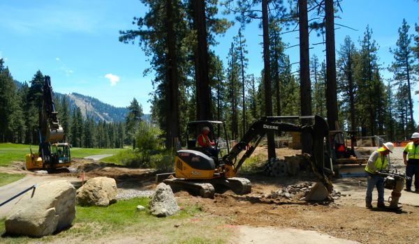Crews work on the golf holes that will be rerouted to accommodate Edgewood Lodge. Photos/Kathryn Reed