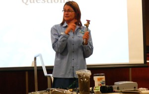 Jennifer Cressy with Tahoe Resource Conservation District explains various irrigation methods that don't use much water. Photo/LTN