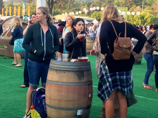 Small touches like a wine barrel as a table add local flair at BottleRock in Napa. Photos/Susan Wood