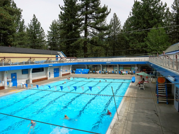 The pool at the rec center is popular year-round.