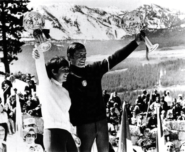 Jean Claude Killy and Nancy Greene on World Cup. Photo/Heavenly Mountain Resort