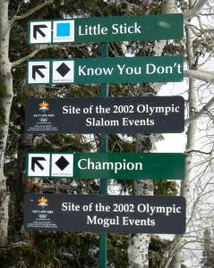 Deer Valley lets skiers know where the Olympic events were. Photo/Kathryn Reed