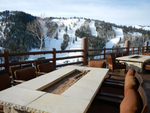 Views from the deck of Stein Eriksen look out to the slopes of Deer Valley. Photo/Kathryn Reed