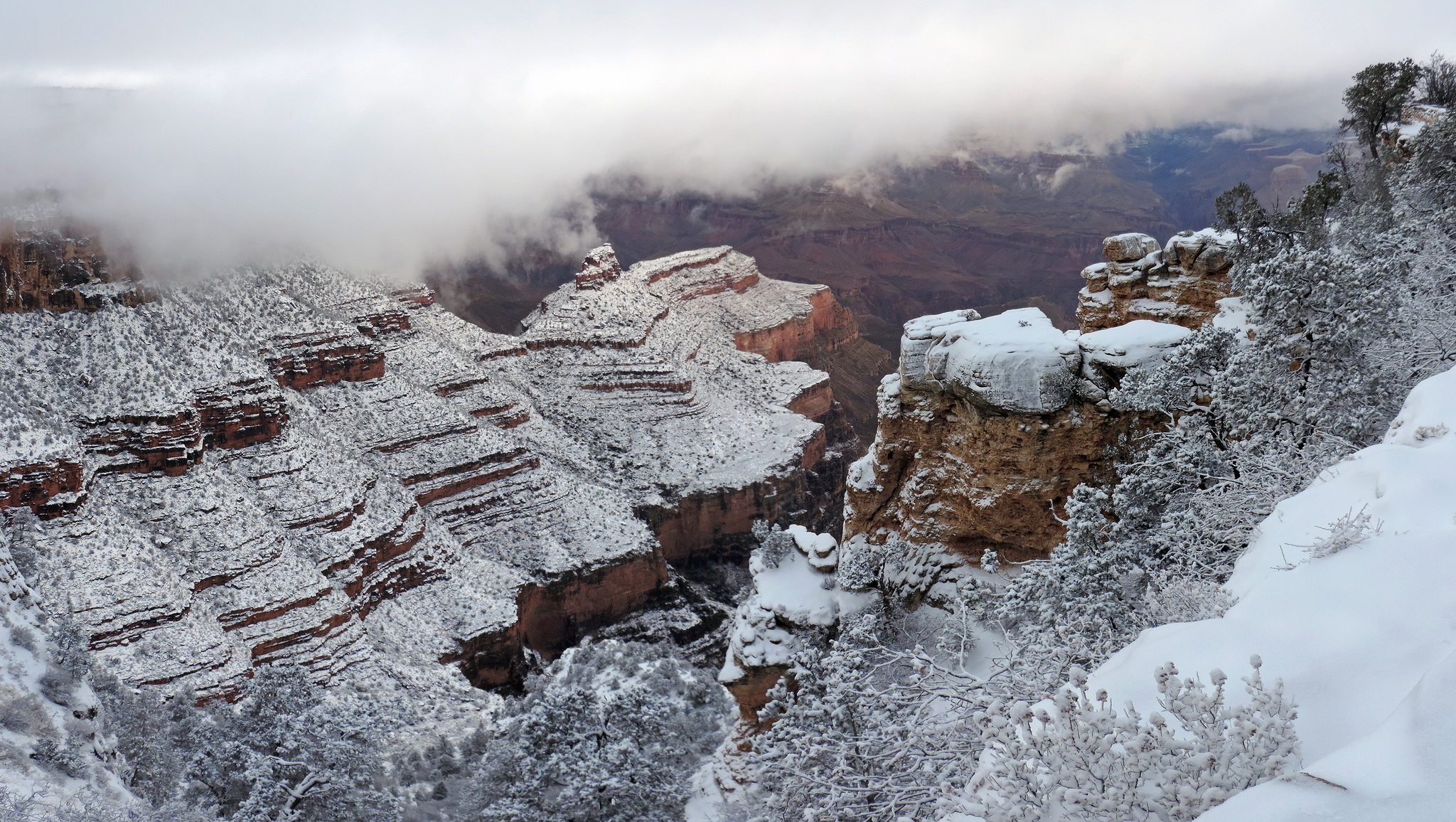 Crowds are not a problem during winter at the Grand Canyon. Photo/National Park Service