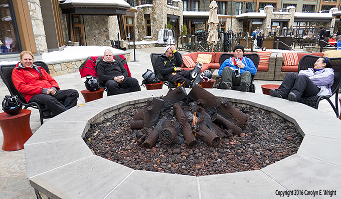 Tourists gather around the fire pit this winter at the Ritz-Carlton, Lake Tahoe. Photo Copyright 2016 Carolyn E. Wright