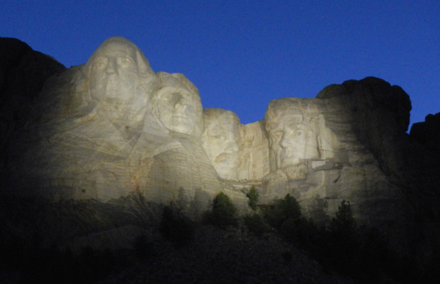 Mount Rushmore illuminates the night sky of South Dakota. Photo/Kathryn Reed
