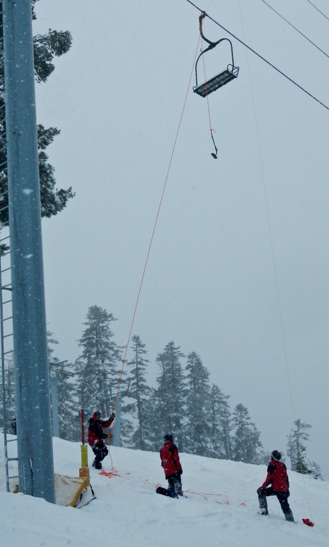 Ski patrol as Sierra early this month train on chairlift evacuation techniques. Photo/Kathryn Reed